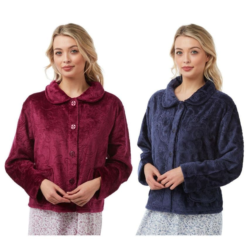HOUSE BED JACKET BUTTON THROUGH LONG SLEEVES LOUNGEWEAR NIGHTWEAR & 2 COLOURS
